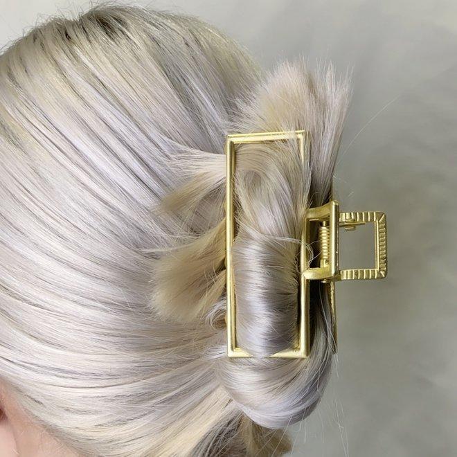 Pince à cheveux en métal géo - Or