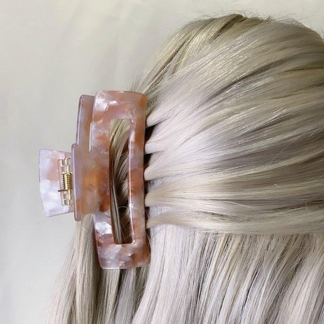 Pince à cheveux ajourée - Rose nacrée
