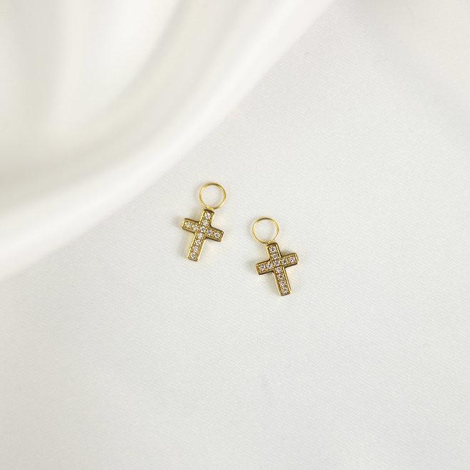 Charms à boucles d'oreilles croix Lotus - Or