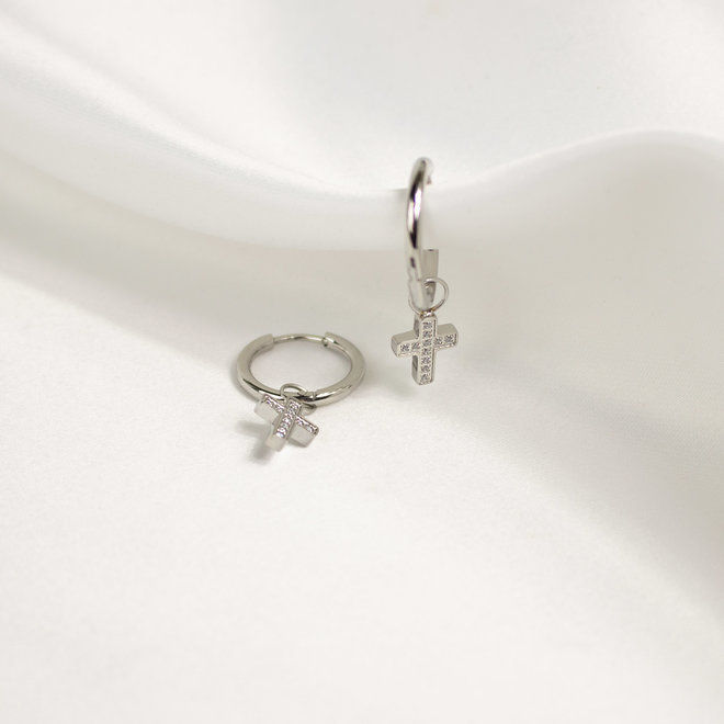 Charms à boucles d'oreilles croix Lotus - Argent