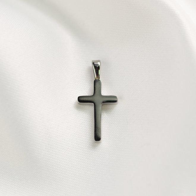 Pendentif croix zircons Lotus - Argent