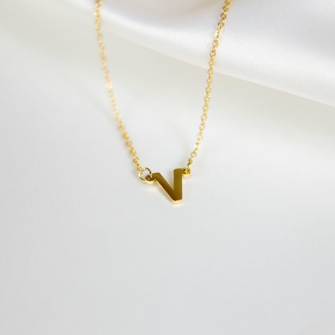 Collier pendentif lettre V - Or