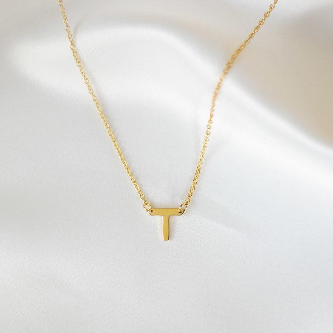 Collier pendentif lettre T - Or