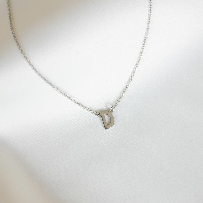 Collier pendentif lettre D - Argent