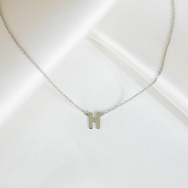 Collier pendentif lettre H - Argent