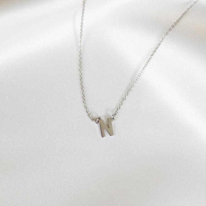 Collier pendentif lettre N - Argent