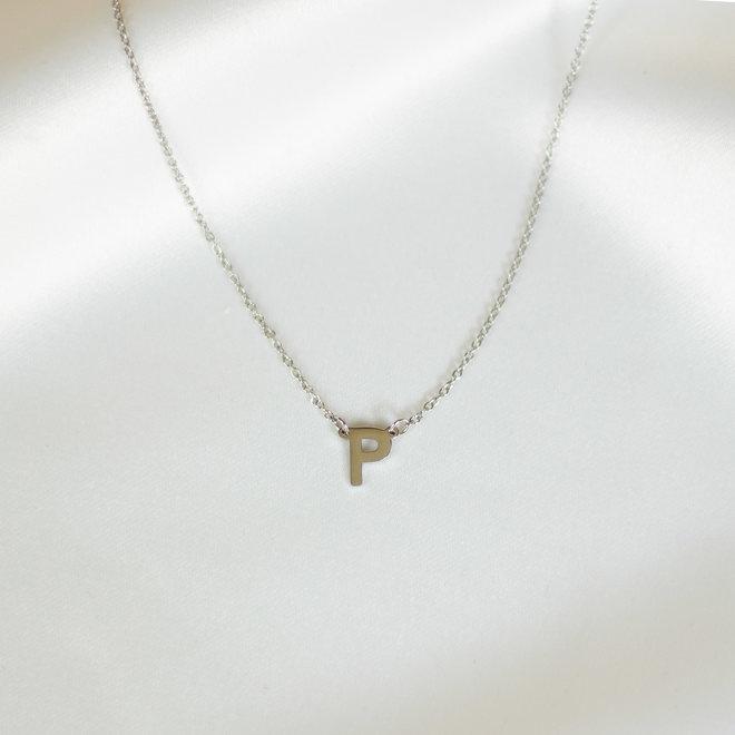 Collier pendentif lettre P - Argent