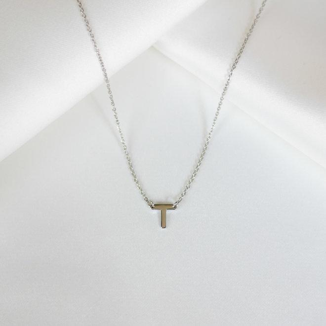 Collier pendentif lettre T - Argent