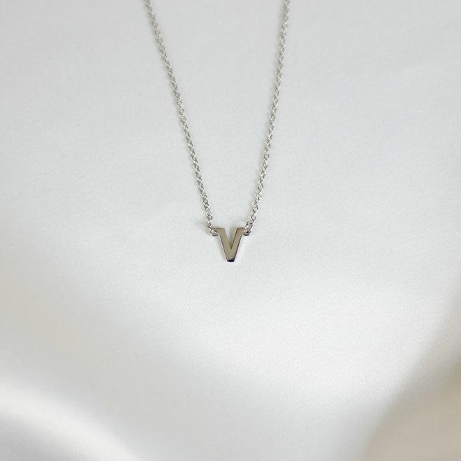 Collier pendentif lettre V - Argent