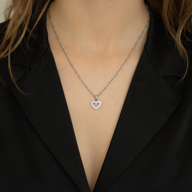 Pendentif Coeur de Marie zircons - Argent