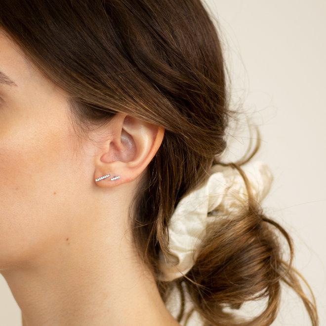Boucles d'oreilles Paprika 6mm zircons - Argent