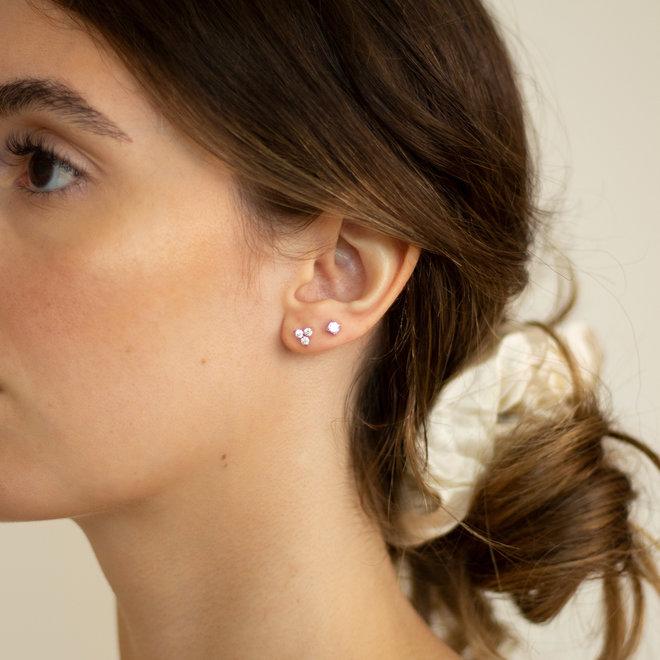 Boucles d'oreilles trio zircons Jasmin