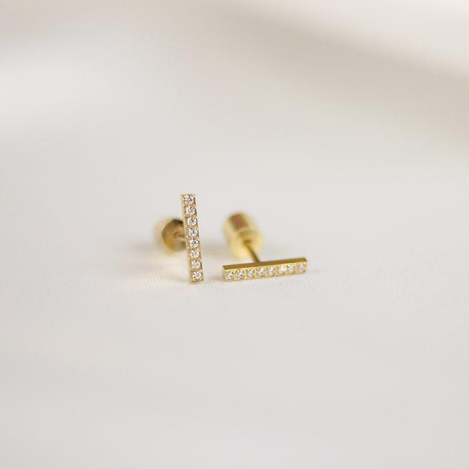 Boucles d'oreilles Paprika 11mm zircons - Or