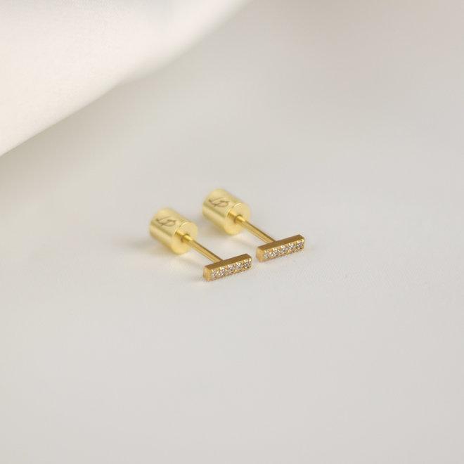 Boucles d'oreilles Paprika 6mm zircons - Or