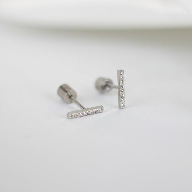 Boucles d'oreilles Paprika 11mm zircons - Argent