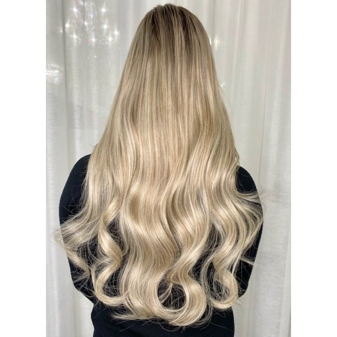 "Extensions à microanneaux Blond Balayage Châtain Froid 24"""