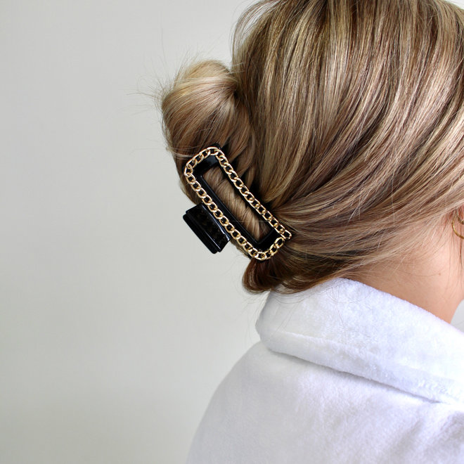 Pince à cheveux avec chaîne - Noir