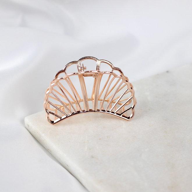 Pince à cheveux en métal croissant - Rose doré