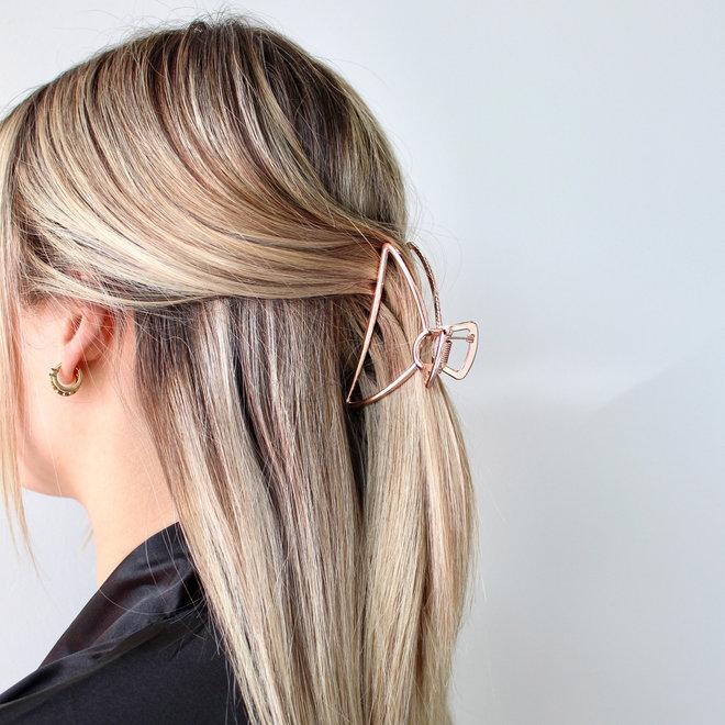 Pince à cheveux en métal Luna - Rose doré
