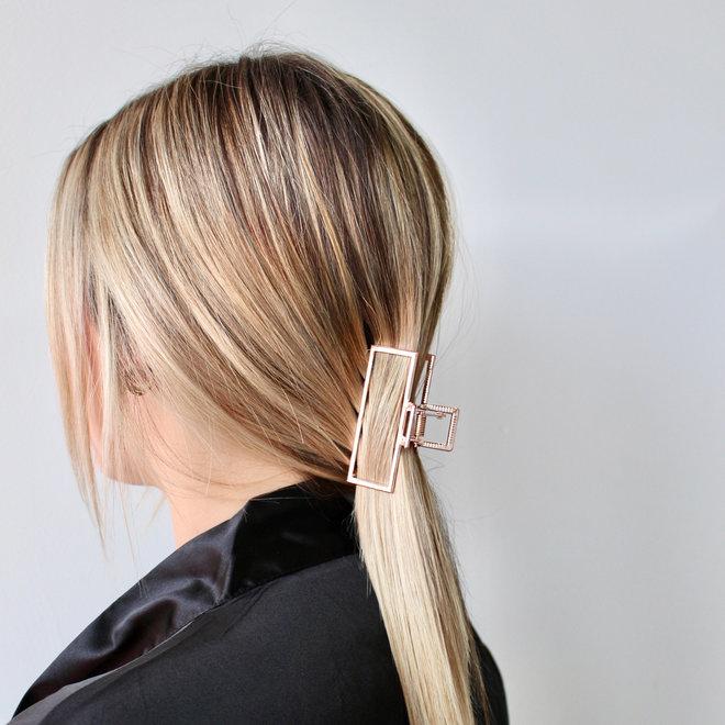 Pince à cheveux en métal géo - Rose doré