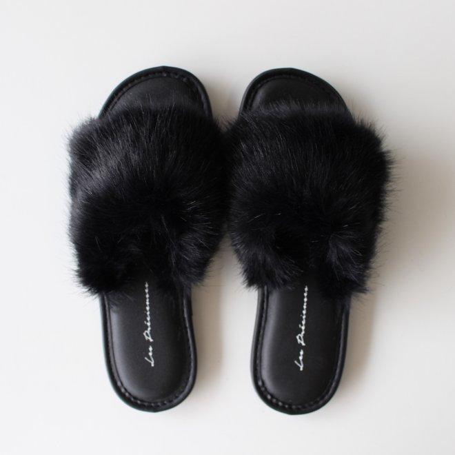 Pantoufles fausse fourrure - Noir