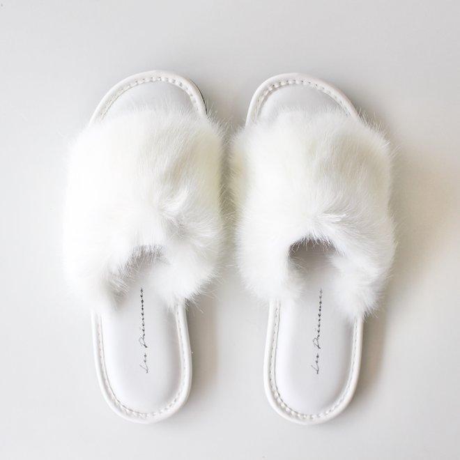 Pantoufles fausse fourrure - Blanc