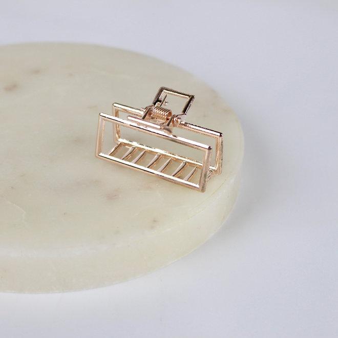Mini pince à cheveux en métal géo - Rose doré