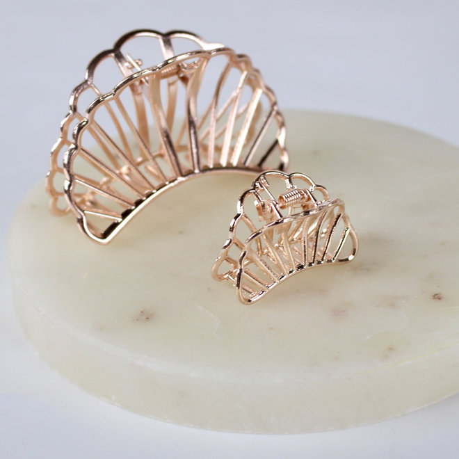 Mini pince à cheveux en métal croissant - Rose doré