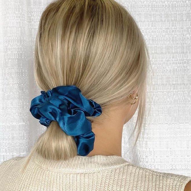Chouchou en satin - Bleu classique