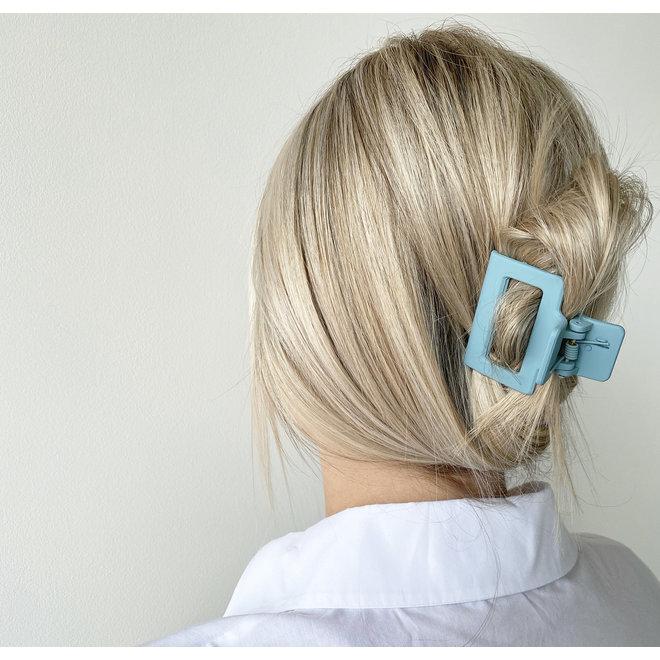 Pince à cheveux carrée - Souffle bleu mat