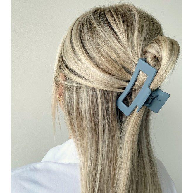 Pince à cheveux ajourée - Jean bleu mat