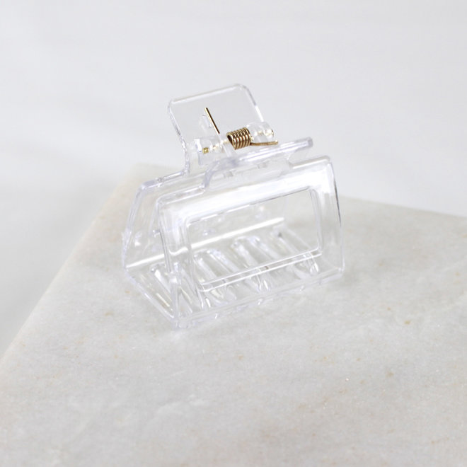 Pince à cheveux carrée - Transparent glossy