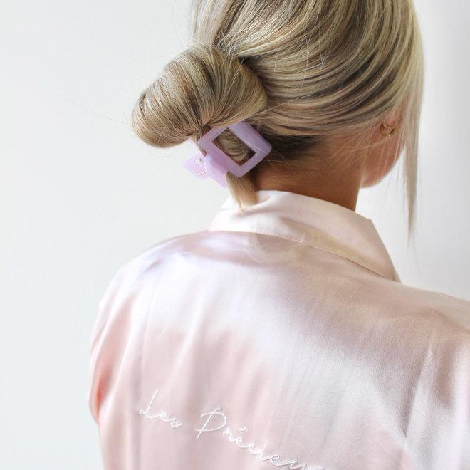 Pince à cheveux carrée - Rose bonbon glossy
