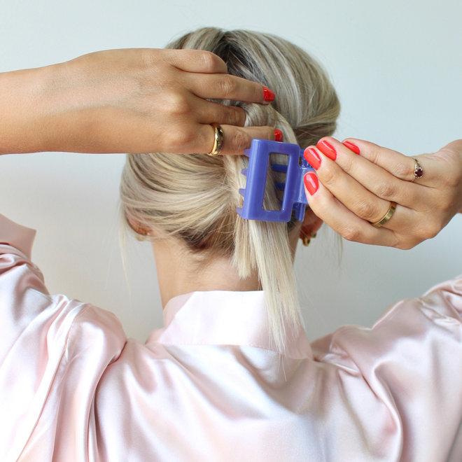 Pince à cheveux carrée - Bleu céruléen glossy