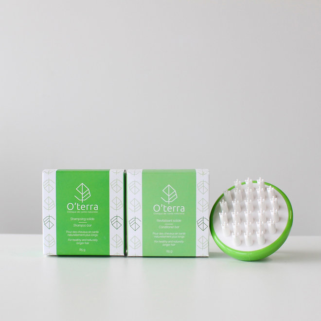 Trio capillaire shampoing, revitalisant et brosse