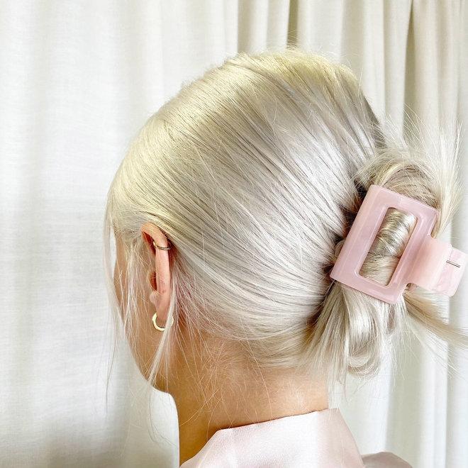 Pince à cheveux carrée - Rose pâle glossy