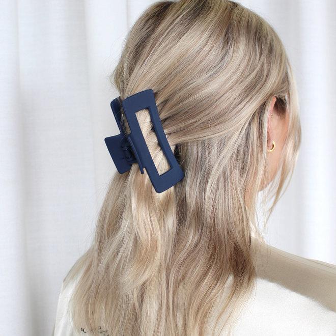 Pince à cheveux ajourée longue - Marine mat