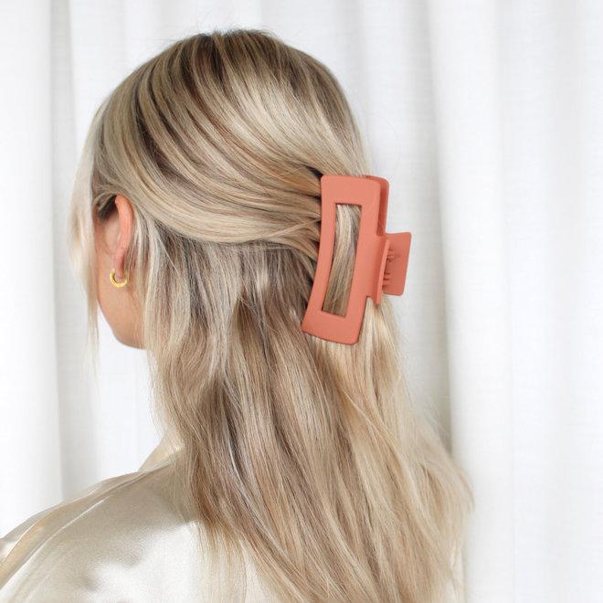 Pince à cheveux ajourée longue - Orange Cali mat