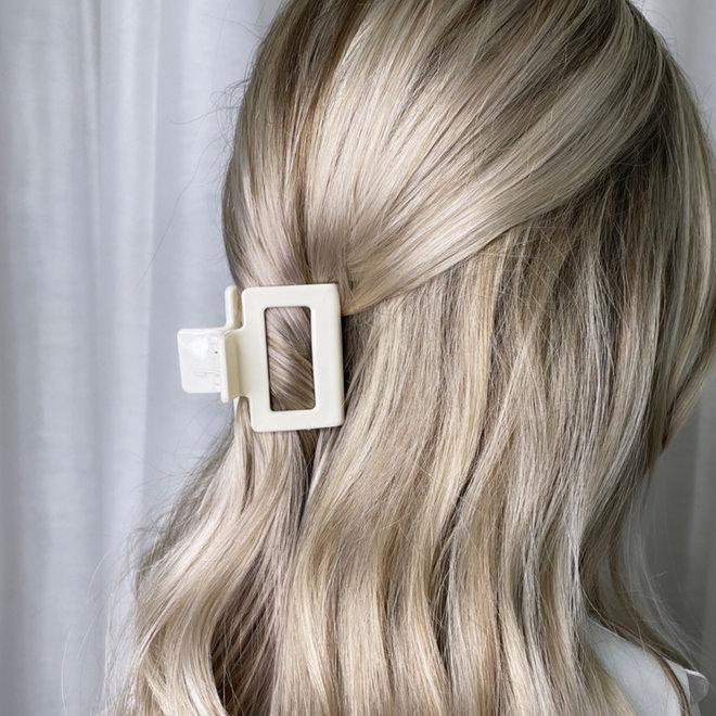 Pince à cheveux carrée - Blanc cassé glossy
