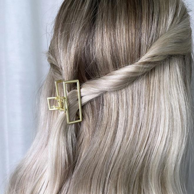 Mini pince à cheveux en métal géo - Or