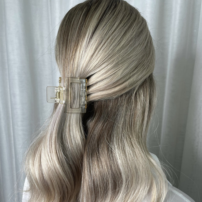Pince à cheveux carrée - Clair glossy