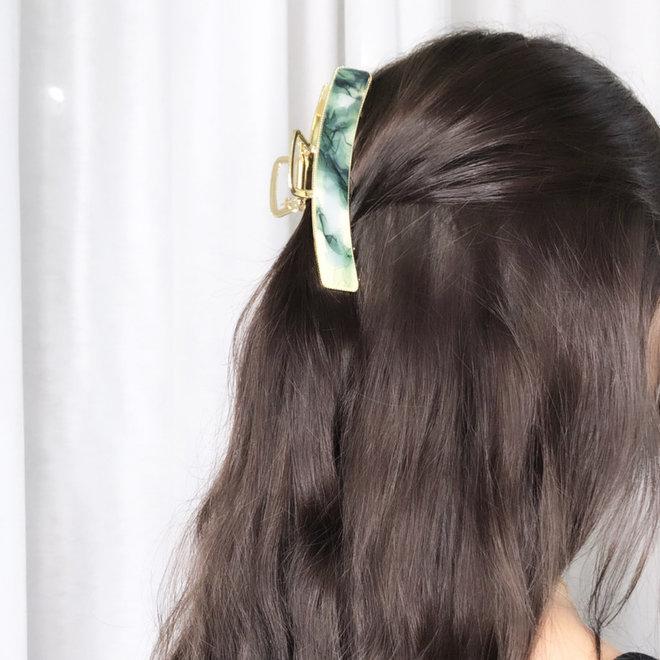 Pince à cheveux  en metal doré avec finition - Vert marbre
