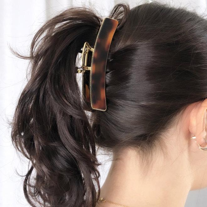 Pince à cheveux  en metal doré avec finition - Tortoise marbre