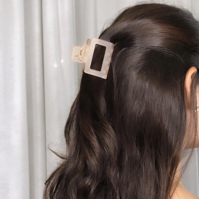 Pince à cheveux carrée - Pêche givré