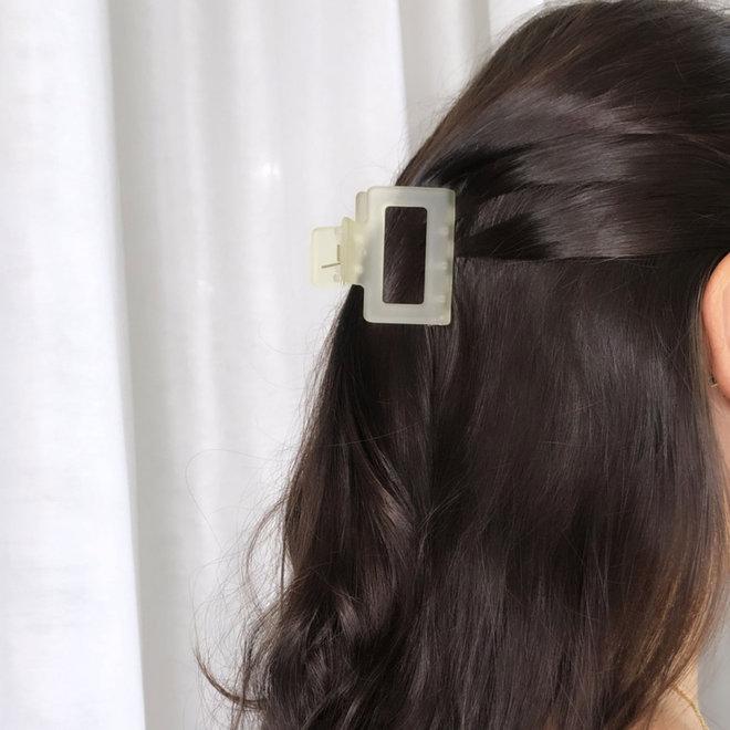 Pince à cheveux carrée - Gris pâle givré