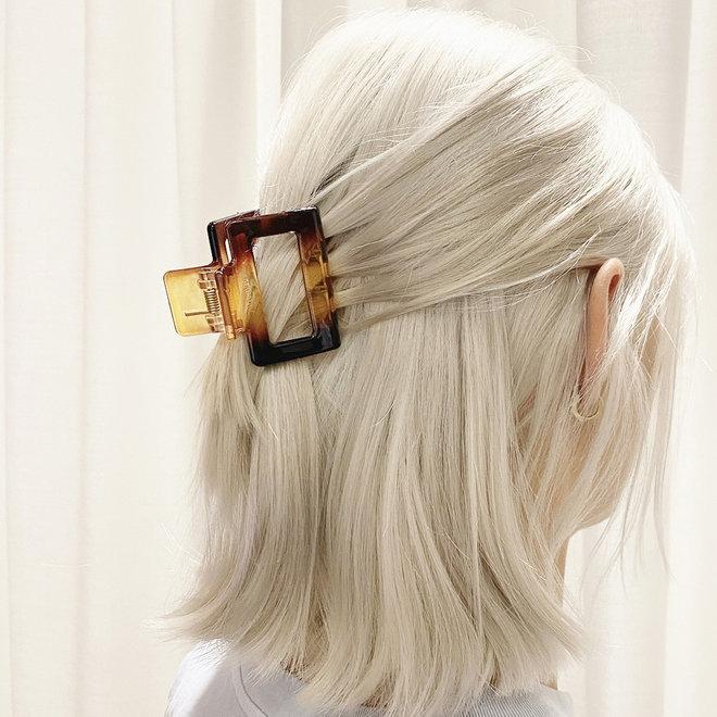 Pince à cheveux carrée - Tortoise glossy