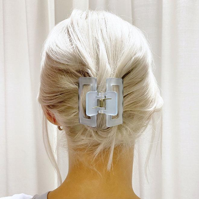 Pince à cheveux carrée - Bleu ciel givré