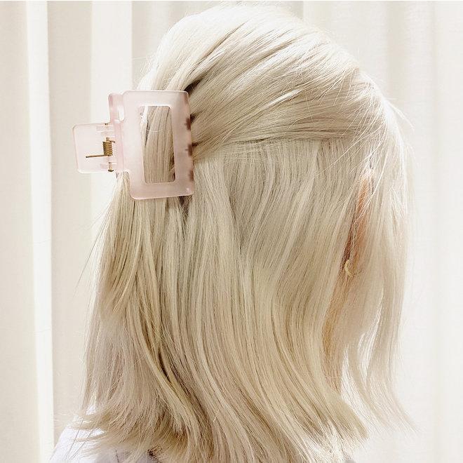 Pince à cheveux carrée - Rose pâle magenta givré