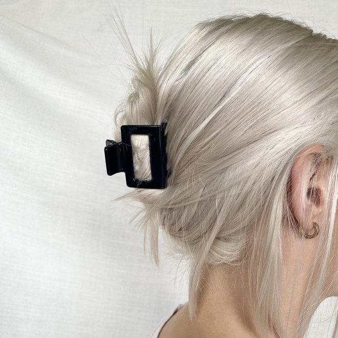 Pince à cheveux carrée - Noir glossy