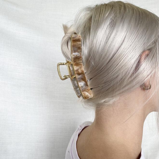 Pince à cheveux  en metal doré avec finition - Calacatta Gold Marbre